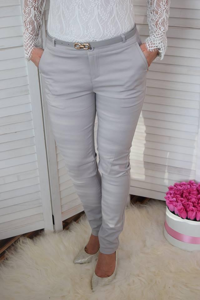 6984b5368 Elegantné nohavice s opaskom - sivé | ONLINEMODA.SK