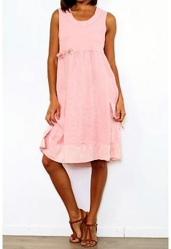 Pohodlné letné šaty bez rukávov - ružová  7aa81cde486